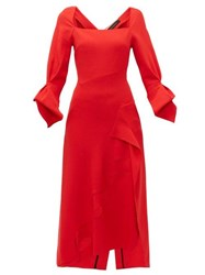 Roland Mouret Trinity Laser Cut Panelled Wool Midi Dress Red
