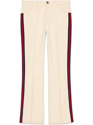 Gucci Denim Flare Pant With Web White