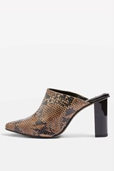 Topshop Glow Two Tone Mules Brown