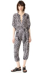 Norma Kamali Kulture Rectangle Jog Jumpsuit Grey Leopard