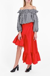 Marques Almeida Women S Asymmetric Frilled Skirt Boutique1 Red