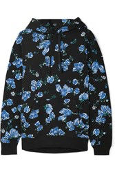Bodyism Emilia Wickstead Sienna Floral Print Cotton Blend Jersey Hooded Top Blue Gbp