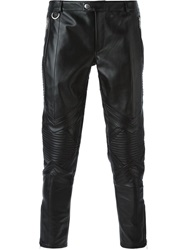 Les Hommes Leather Biker Trousers Black