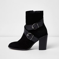 River Island Womens Black Cowboy Buckle Ankle Boots