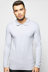 Boohoo Sleeve Muscle Fit Polo With Logo Grey