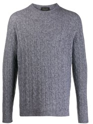 Roberto Collina Long Sleeve Cable Knit Sweater Grey