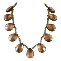 Brass Fusion Smokey Quartz Drop Pendant Necklace
