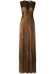 Maria Lucia Hohan Plisse Evening Gown Metallic