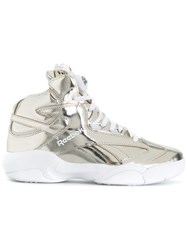 Reebok Lace Up Hi Tops Leather Polyamide Rubber 7.5 Metallic