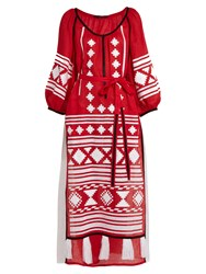 Vita Kin Croatia Embroidered Linen Dress Red White