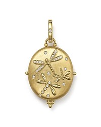 Temple St. Clair 18K Gold Dragonfly Locket With Diamonds