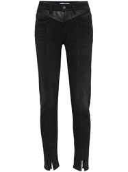 Givenchy Leather Panel Jeans Black