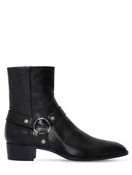 Saint Laurent 40Mm Wyatt Belted Leather Cropped Boots Black