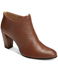 Aerosoles Trustworthy Booties Women's Shoes Dark Tan Leather