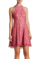 Dress The Population Women's Angie Halter Magenta Lace