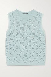 Alexachung Faux Pearl Embellished Wool And Cotton Blend Vest Sky Blue