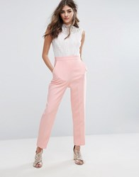 Miss Selfridge High Neck Lace Top Jumpsuit Nude Pink