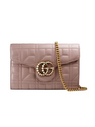 Gucci Gg Marmont Matelasse Mini Bag Women Leather Pearls Gold Tone Alloy One Size Nude Neutrals