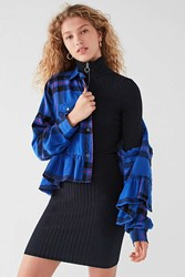 Urban Outfitters Uo Button Down Peplum Flannel Top Blue Multi