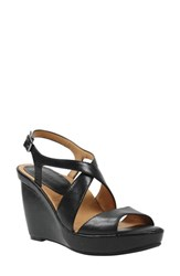 L'amour Des Pieds Women's Ilanna Wedge Sandal Black Leather