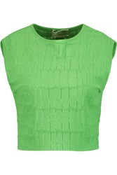 Giambattista Valli Cropped Croc Jacquard Top Green