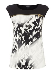 Episode Sleeveless Printed Tee With Zip Detail White