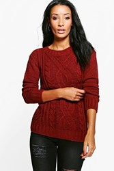Boohoo Cable Knit Marl Chunky Jumper Merlot