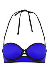Topshop Cut Out Long Line Bikini Top Blue