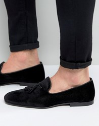 Asos Tassel Loafers In Black Velvet Black