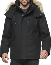 Marc New York Fremont Pressed Wool Hooded Jacket Black