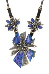 Alexis Bittar Mixed Metal Necklace With Leather And Crystals Multicolor