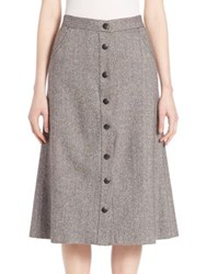 Alice Olivia Rhoda A Line Wool Blend Skirt Black Ivory