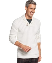 Tasso Elba Shawl Collar Sweater Winter White Combo