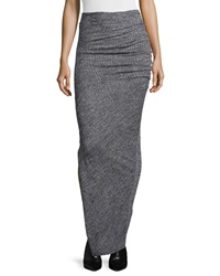 Alice Olivia Octavia Ruched Wool Maxi Skirt Gray