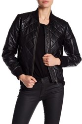 7 For All Mankind Quilted Leather Jacket Black