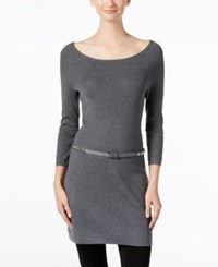 Inc International Concepts Belted Tunic Sweater Only At Macy's Medium Heather Grey