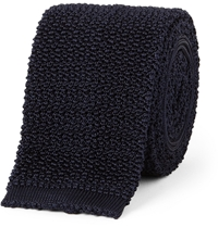 Drake's Knitted Silk Tie Blue