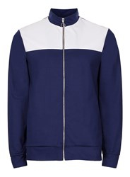 Topman Blue Navy And White Panelled Track Top