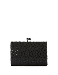 Franchi Floral Embroidered Sequined Clutch Black