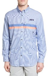 Columbia Men's Super Harborside Woven Shirt Navy Stripe