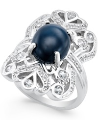 Macy's Star Sapphire 5 Ct. T.W. And Cubic Zirconia Ring In Sterling Silver