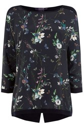 Oasis Floral Butterfly Woven Front Navy