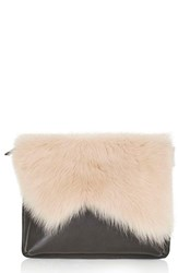Topshop Genuine Shearling And Leather Clutch