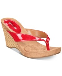 Styleandco. Style Co Chicklet Wedge Thong Sandals Red Patent
