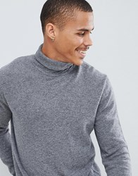 United Colors Of Benetton 100 Merino Roll Neck Jumper In Grey