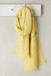 Anthropologie Etched Oblong Scarf Yellow Motif