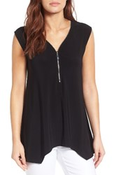 Chaus Women's Zip V Neck Top Rich Black