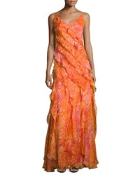 Carmen Marc Valvo Sleeveless Floral Silk Ruffle Gown Coral