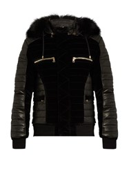 Balmain Fur Trim Quilted Velvet And Leather Bomber Jacket Black
