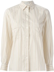 Celine Vintage Striped Shirt Nude And Neutrals